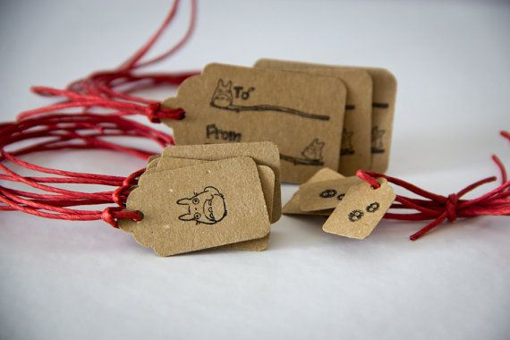 Hand Stamped Totoro Gift Tags in Brown Kraft by jenandtricks, $4.50