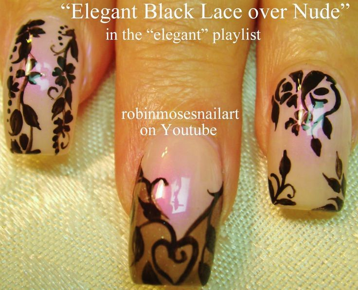 3 Nail Art Tutorials | Easy Nail Art For Beginners | Black Lace Nails