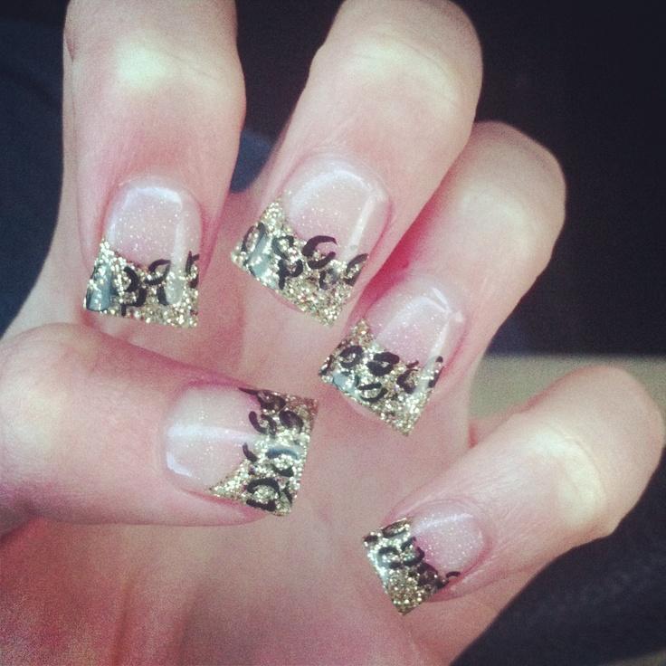 Gold glitter cheetah acrylic nails | Nails | Pinterest