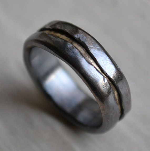 Handmade silver and brass ring by MaggiDesigns on etsy - beautiful raw character #WabiSabi - $230