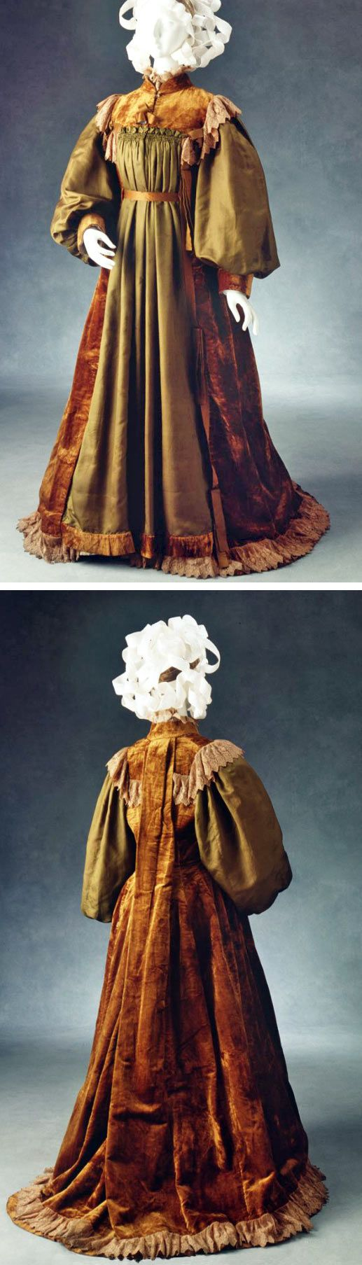 Morning dress, ca. 1860-64. Silk, velvet, and lace. In form of robe, calico-lined throughout, which fastens upper part of front with 6 covered buttons. High neck, small standup collar, square yoke at front, edged by lace. Front panel bottle green foulard silk, full inset sleeves of foulard ending in velvet cuff. Watteau pleat at back, beginning at neckline. Lace flounce at bottom, ribbon trim. Skirt slightly longer at back. Powerhouse Museum