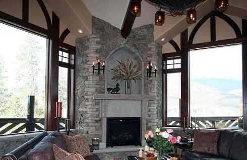 Corner+Fireplace+Designs   The two multi-story corner stone fireplace designs that follow soar ...