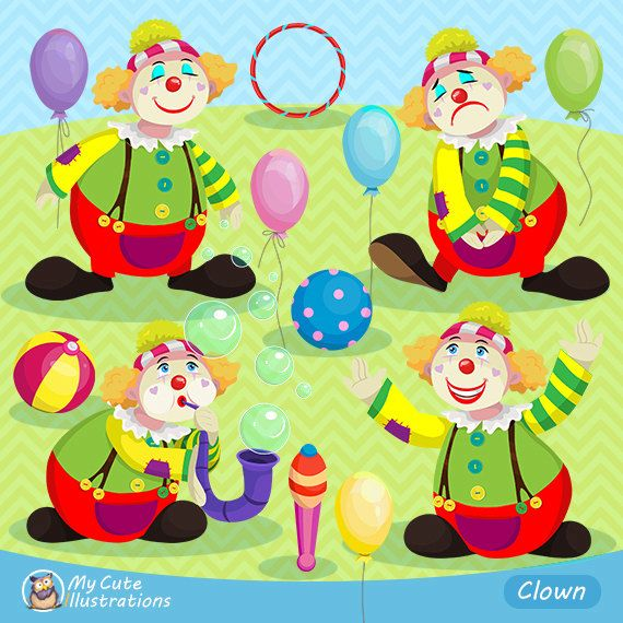 Clown clipart Circus Party printables Baloons Clowns commercial use