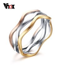 Vnox Elegant Wedding Rings for Women New Fashion 3 Colors Engagement Rings Women Jewelry US Size 6 7 8 9(China (Mainland))