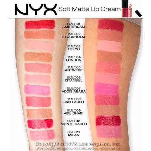 target, $5.99 each, nyx soft matte lip cream swatches on pale skin WANT: abu dhabi, milan, san paulo, amsterdam (only possibly), istanbul, antwerp, monte carlo (only possibly)