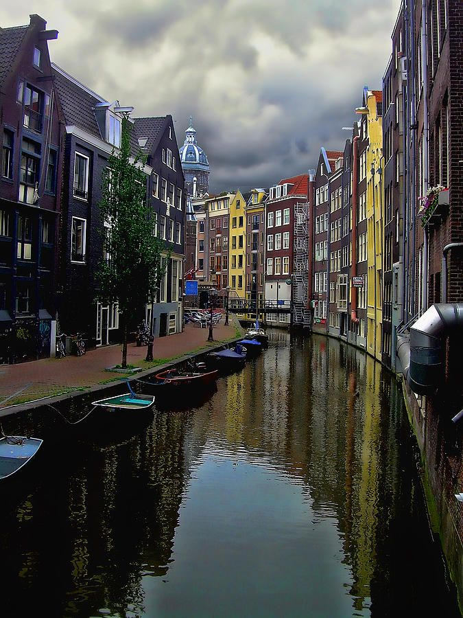 View down a canal 'street' in Amsterdam. Typical canal view. Quiet amazing