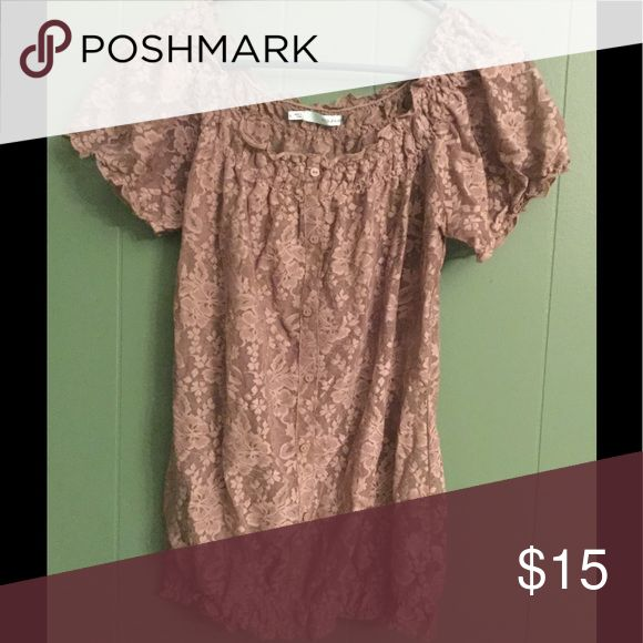 Lacy brown blouse Really pretty lacy blouse with gathered waistline. Very flattering. Maurices Tops Blouses