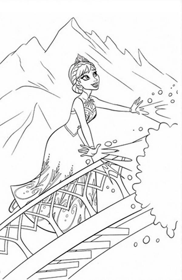 Elsa Making Snow Using Her Magic Power Coloring Page Free Printable Frozen Pages