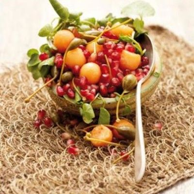 Taste Mag | Sweet melon and pomegranate salad with caper berries @ https://taste.co.za/recipes/sweet-melon-and-pomegranate-salad-with-caper-berries/