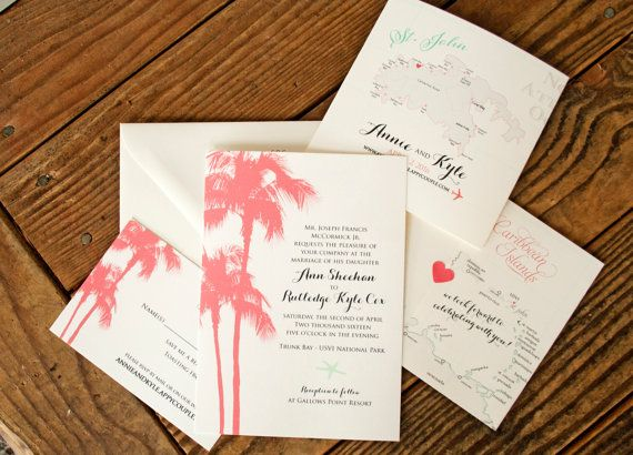 263 best mavora wedding products images on pinterest tossed items similar to palm tree wedding invitation with st john map wrap tropical destination wedding the caribbean islands design fee on etsy stopboris Images