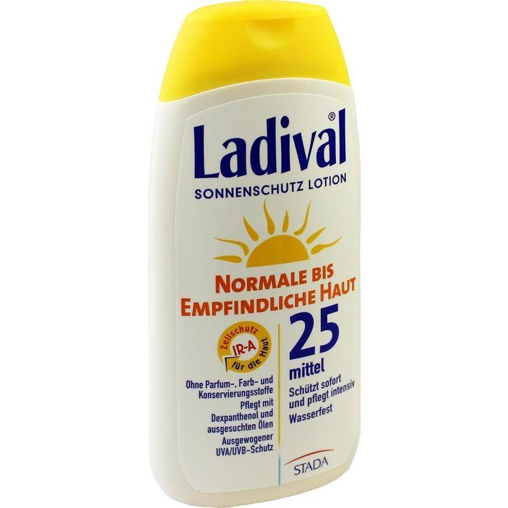 LADIVAL norm.bis empfindl.Haut Lotion LSF 25:   Packungsinhalt: 200 ml Lotion PZN: 03372570 Hersteller: STADA GmbH Preis: 12,89 EUR inkl.…