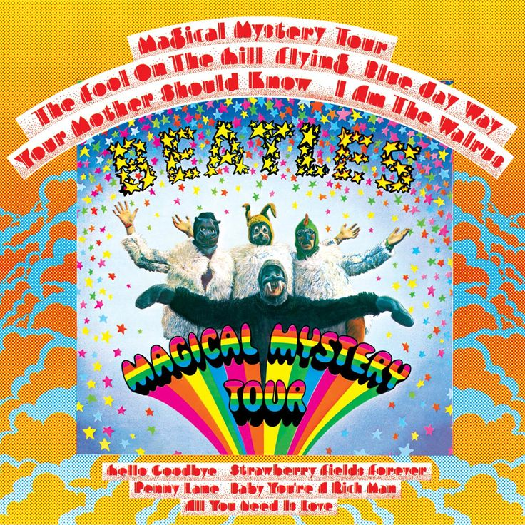 "The Beatles album cover for ""Magical Mystery Tour"" contains many psychedelic features"