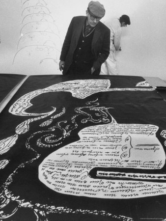 Saul Steinberg Displaying His Art at the Us Pavilion, Brussels World's Fair  Michael Rougier