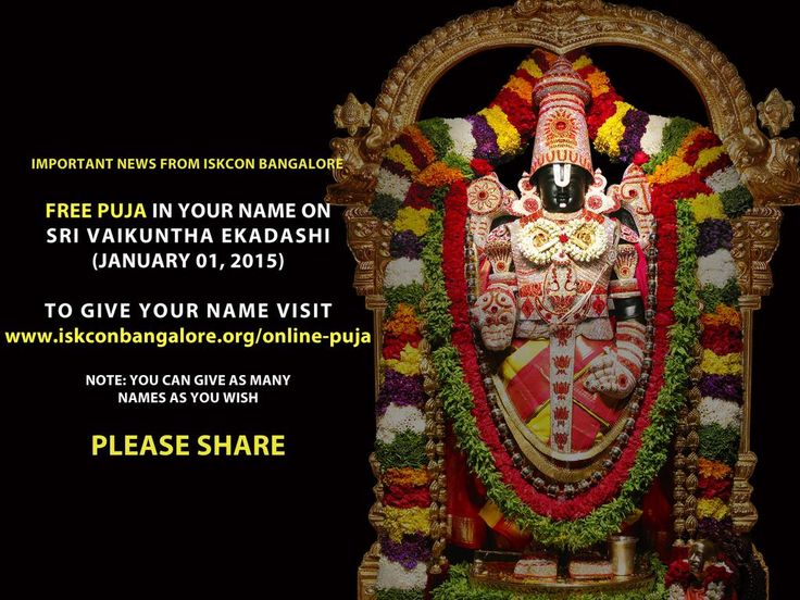 Important News from @ISKCONBangalore: Free Puja in Your Name. Visit website to register your names.