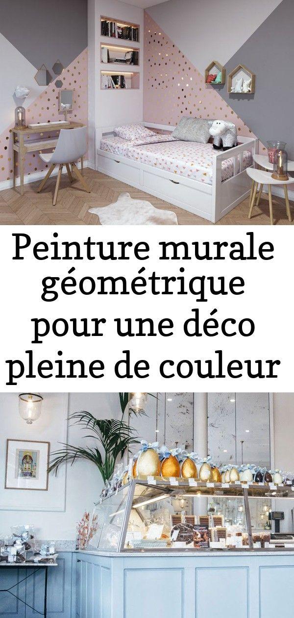 Peinture Murale Geometrique Chambre Fille Rose Et Gris Paillettes