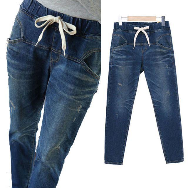 2016 otoño agujero en los pantalones vaqueros Delgados rectos de los hombres de la cintura gran tamaño de los pantalones vaqueros pantalones de las mujeres del estilo de encaje pantalones vaqueros de las mujeres pantalones