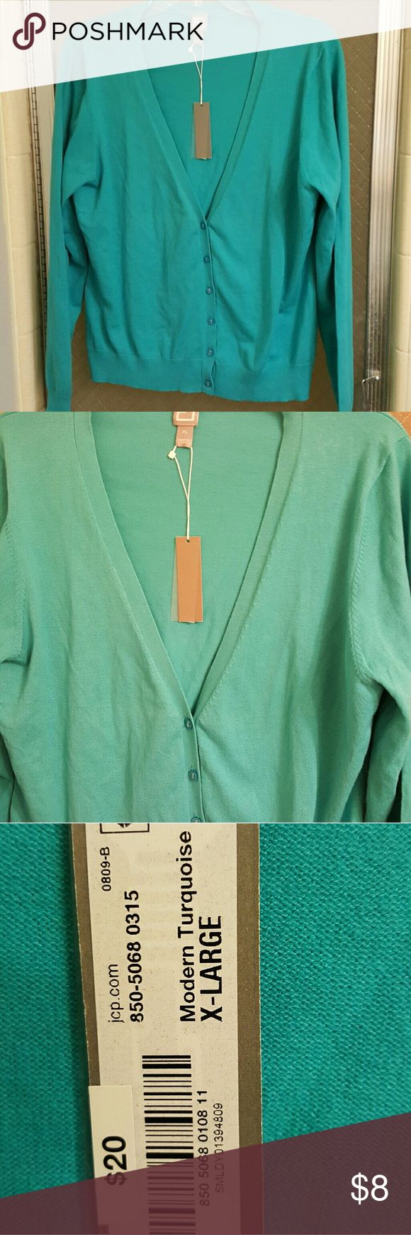 Jcp Turquoise Cardigan Sweater With tags, XL turquoise cardigan sweater. Never worn jcp Sweaters Cardigans