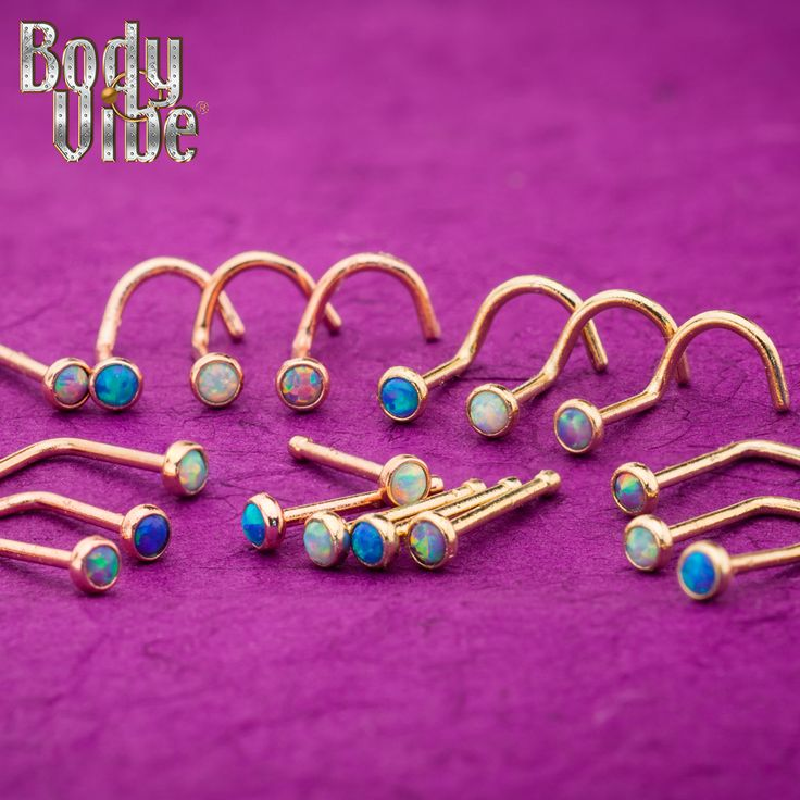 Check this out! Gorgeous Gold Plated Nose Jewelry with Synthetic Opal from #Bodyvibe #nosejewelry #pvdgold #316L