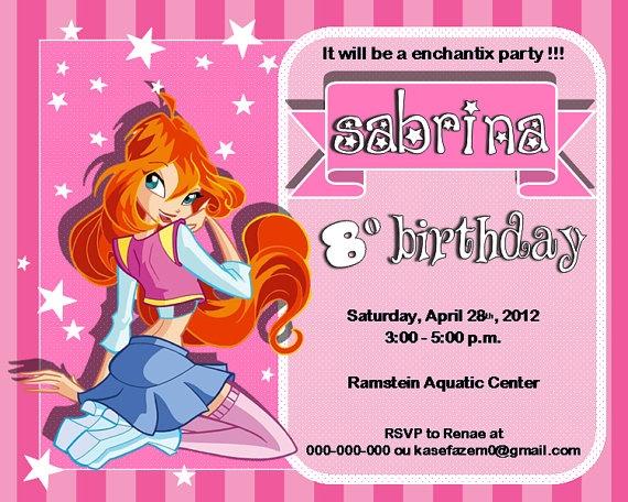 Bloom Winx Club Birthday Party Invitations