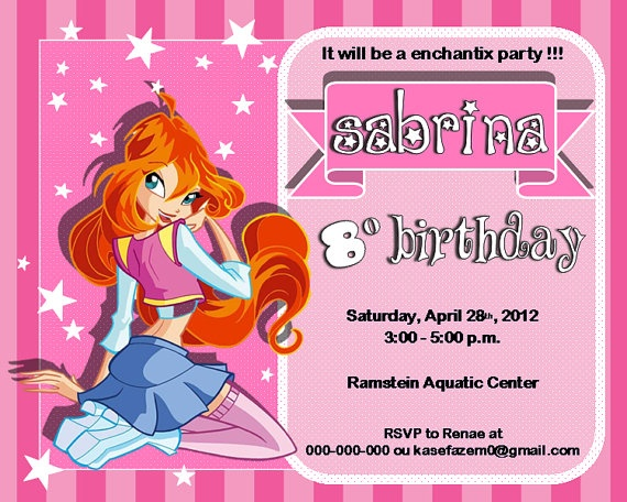 Bloom Winx Club Birthday Party Invitations Digital by kasefazem, $6.99