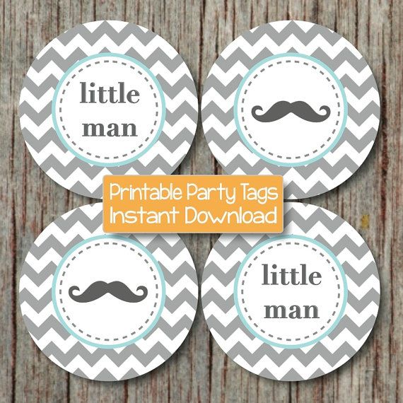 Little Man Mustaches Baby Shower Decorations. Blue Grey Chevron Mustache by BumpAndBeyondDesigns, $4.00