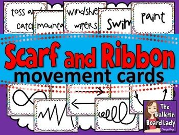 Scarf and Ribbon Movement Cards- Where have these been all my teaching life? Easy way to create routines with ribbons, streamers or scarves. FUN way to get kids moving and exploring. Print or use the JPGS to create slideshows of my own...heck yeah!