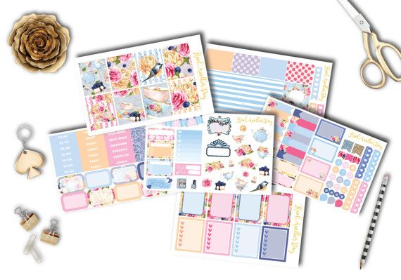 Garden Tea Party Planner Stickers Set and Kit by KnotAnotherDay