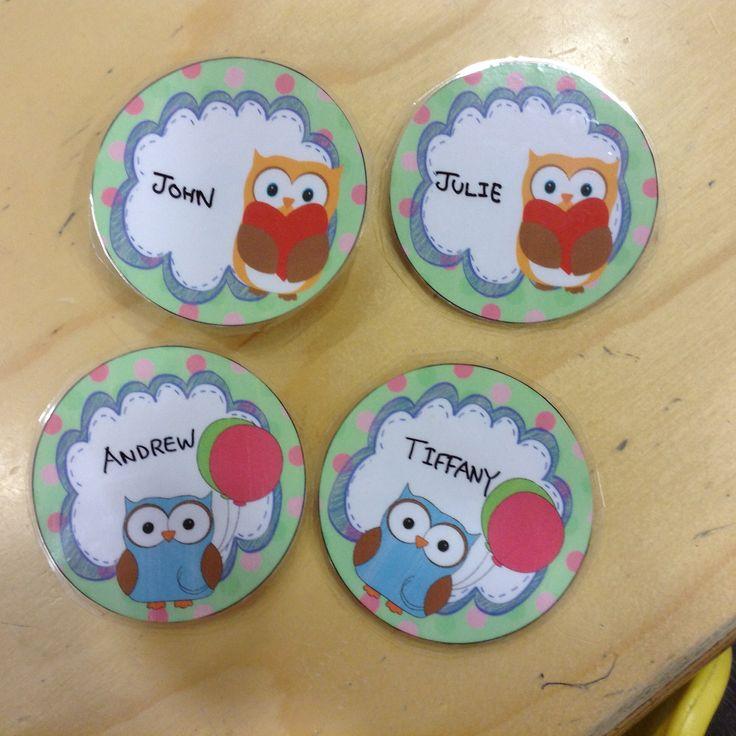 Cute owl theme name tags - freebie