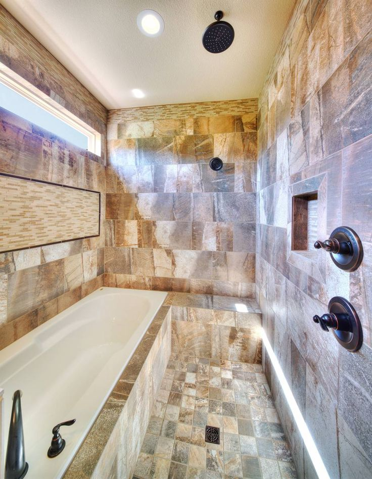 Tiled Wet Room In Master Bathroom Of The Meadowbrook Floor Plan By Summit Cus