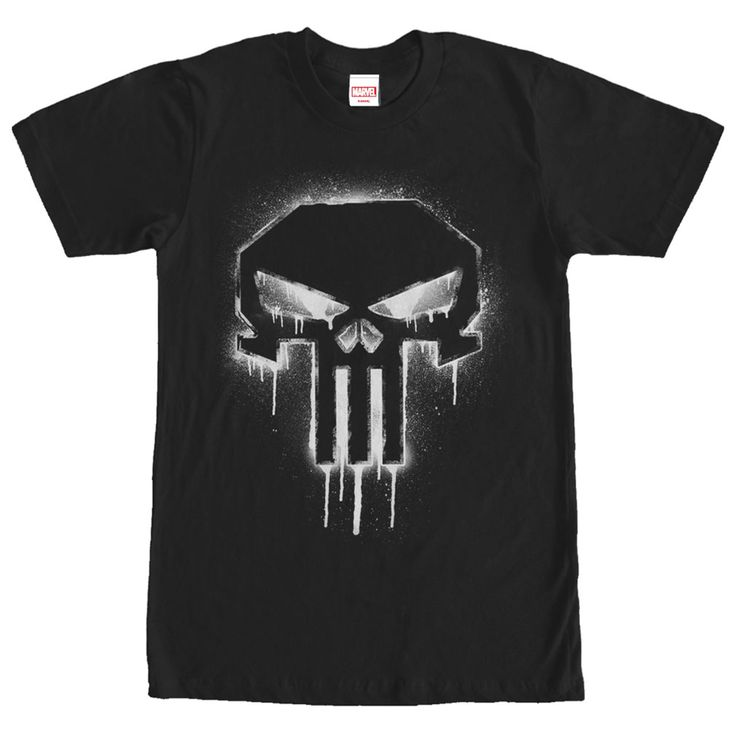 Punisher Spray Paint - Frank Castle will never escape the nightmare of losing his family on the Marvel Punisher Drip Skull Symbol Black T-Shirt. The infamous Punisher symbol is in a spray paint style on this black Punisher shirt.