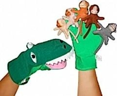 Five Cheeky Monkeys and a Crocodile make this hand puppet set great fun at home or in the classroom. Comes with the printed rhyme and is conveniently stored in a clear plastic hanging bag. $22.25