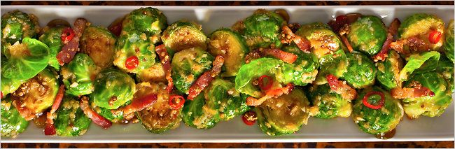 Fatty 'Cue's brussels sprouts with bacon, chilies and shallots. Click on the image for the complete recipe. Photo: Francesco Tonelli for The New York Times