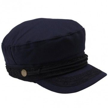 Ladies Fashion Lace Peaked Cap Spring Summer Wide Brim Cotton Navy Hat