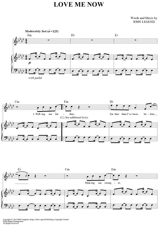 """Love Me Now"" Sheet Music by John Legend from OnlineSheetMusic.com"