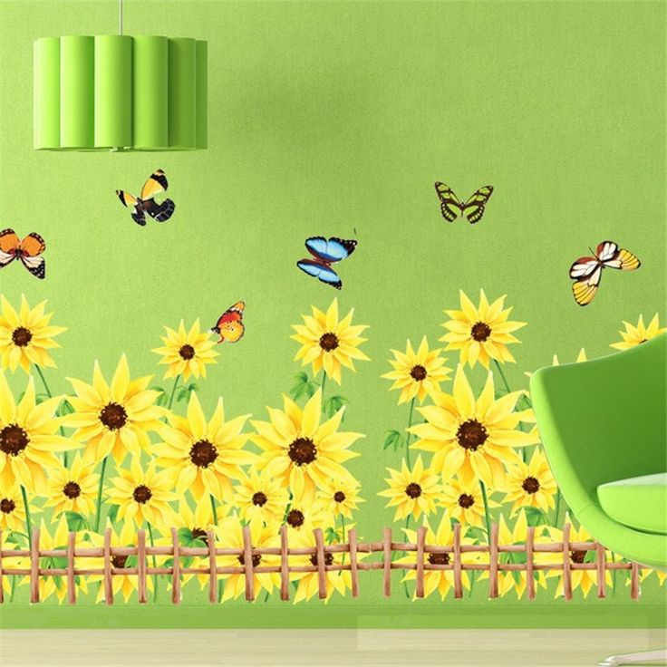 Best Yellow Wall Stickers Ideas On Pinterest Grey Wall - Yellow flower wall decals