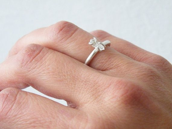 Small Herkimer Diamond Ring Sterling Silver Stacking Ring Rough Quartz Engagement Ring by SteamyLab