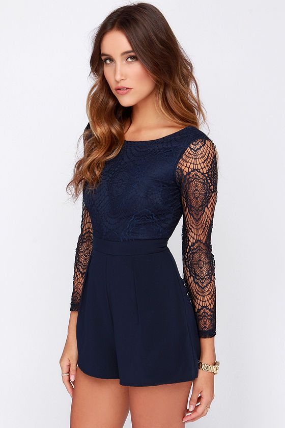 It's no secret that our Tell Me Something Navy Blue Lace Romper is the cutest thing to hit the scene this season! A layer of delicate crocheted lace covers a stretch knit bodice with a wide, rounded neckline, a low dipping back, and long sheer sleeves. Soft woven fabric forms the attached shorts that band high at the waist and fall into subtle pleats. Hidden side seam pockets. Hidden back zipper with clasp. Bodice is lined, sleeves are sheer. Self: 100% Nylon. Contrast: 94% Polyester, 6%…