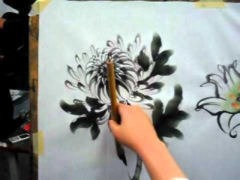 Korean painting (chrysanthemum),한국화(국화 그리기)