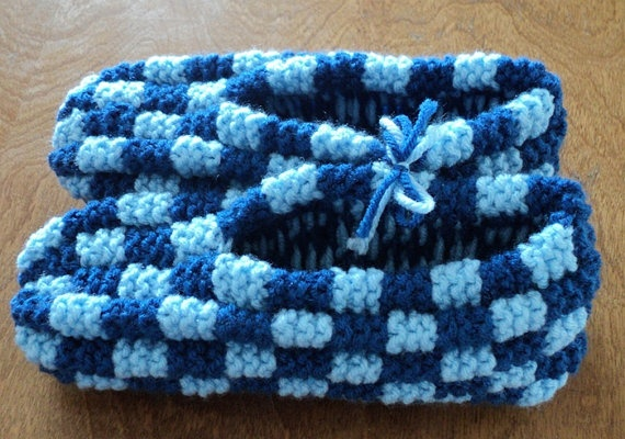 Hand Knitted Blue Checkerboard Slippers by CountryCrafts4You, $20.00
