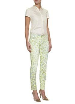 MarcCain Slim fit broek met groen-blauwe luipaardprint