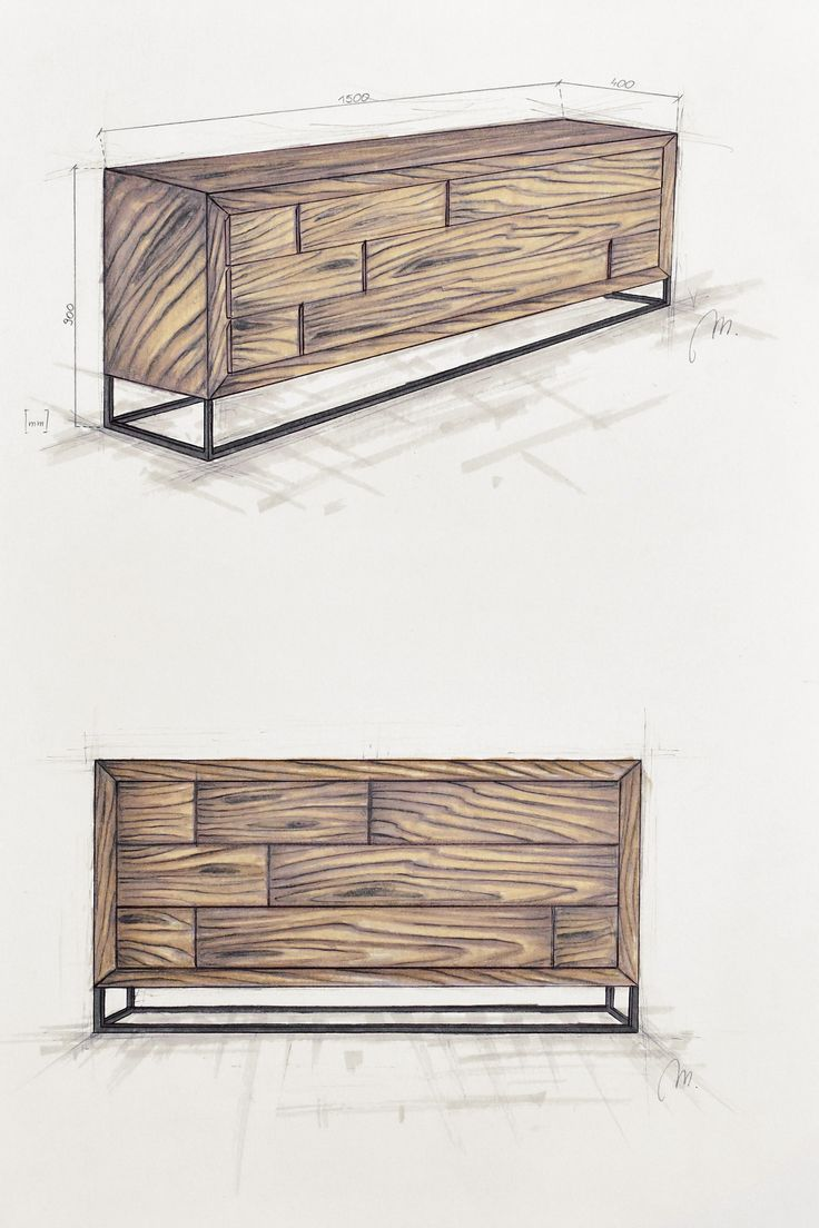 Handcrafted wooden chest of drawers with metal legs. Old wood. Modern simple and bespoke furniture.