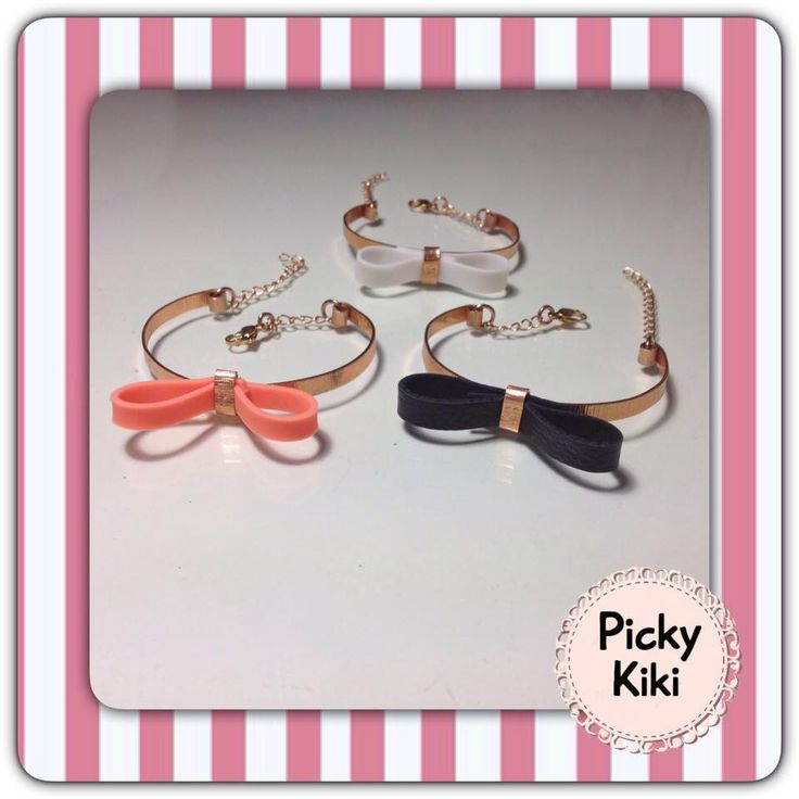 Handmade wristbands cuff styled from pink-gold metal and a bow from leather or rubber in three colors to choose from!!