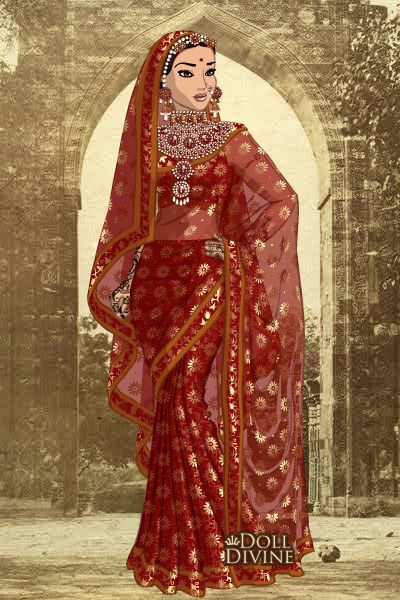 Jodhaa Akbar - Wedding Gown  created using the Sari doll maker | DollDivine.com