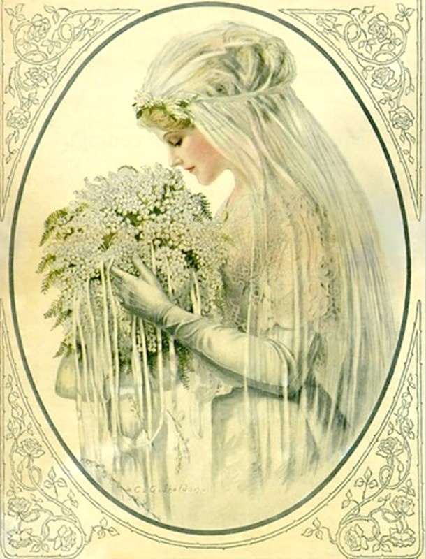 Vintage Wedding, Victorian Bride Bridal Portrait Post Cards, 1960's —   (610x800)