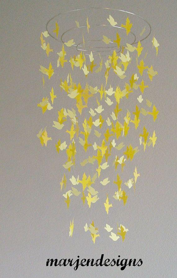 Beautiful yellow bird mobile for crib nursery door marjendesigns