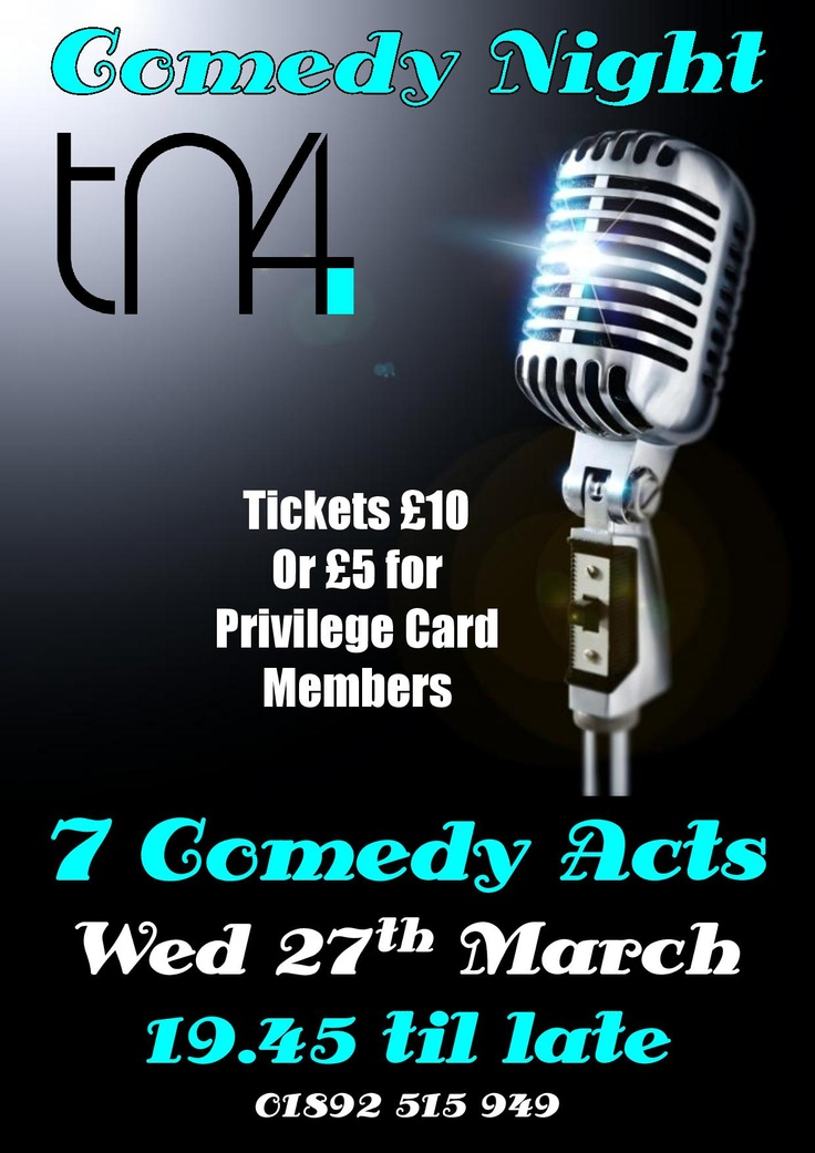 Comedy Night on Wed., 27th March 19:45 til late with 7 Comedy Acts only at TN4 Bar, Tunbridge Wells  http://tn4bar.co.uk/news/comedy-night-wednesday-27th-march/