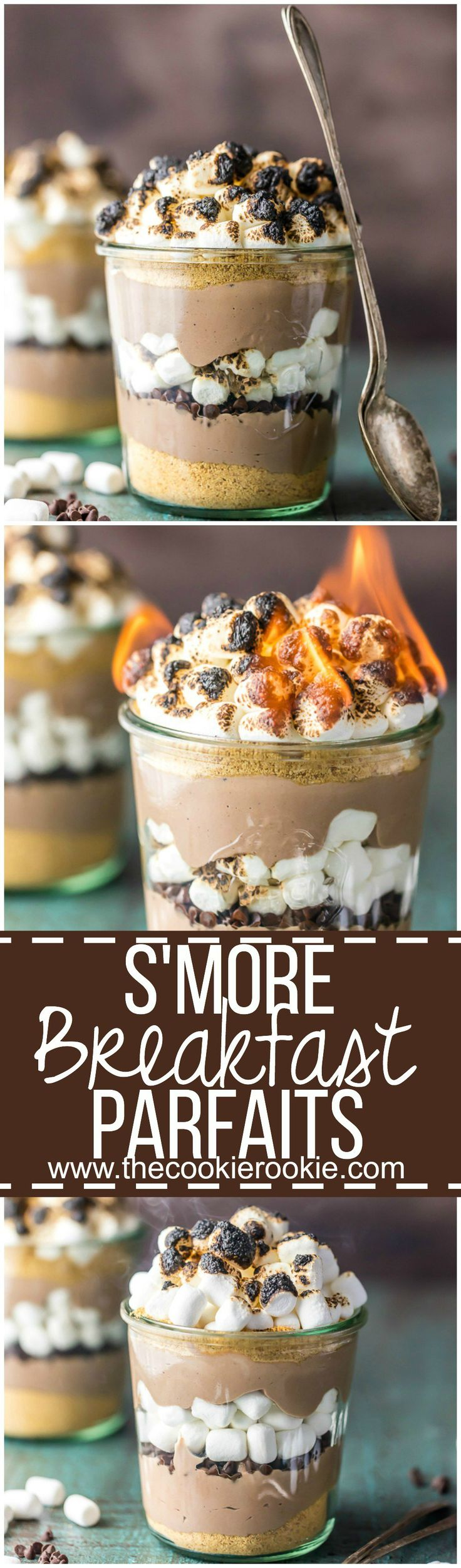 Make mornings great with S'more Breakfast Parfaits! Loaded with greek yogurt, protein powder, graham crumbs, chocolate chips, and toasted marshmallows. Delicious, easy, and a great start to the day!
