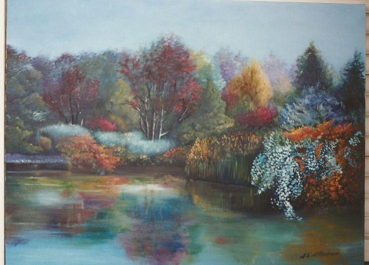 L'autunno si specchia sul lago...olio su tela
