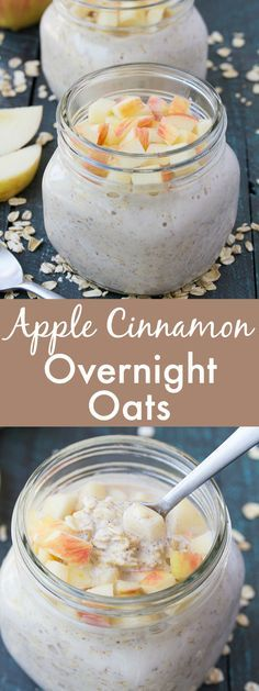 An easy recipe for Apple Cinnamon Overnight Oats. A healthy, make ahead breakfast for busy mornings! | www.kristineskitchenblog.com @bobsredmill #sponsored