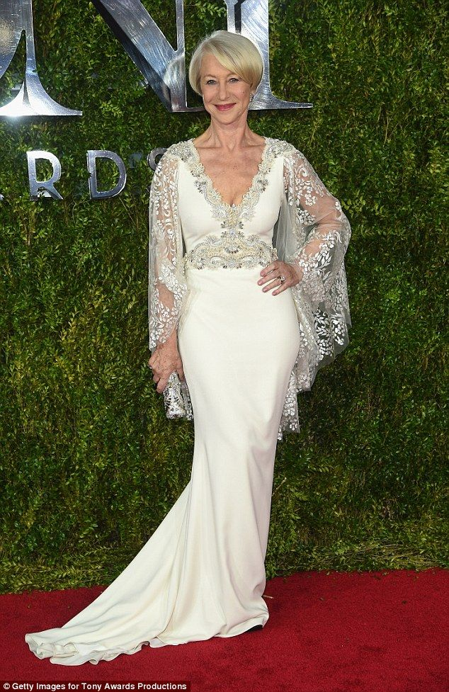 A winning look: Helen Mirren wowed on the red carpet as she attended the 2015 Tony Awards on Sunday night in New York, before taking the prize for Best Actress for her role as the Queen in The Audience